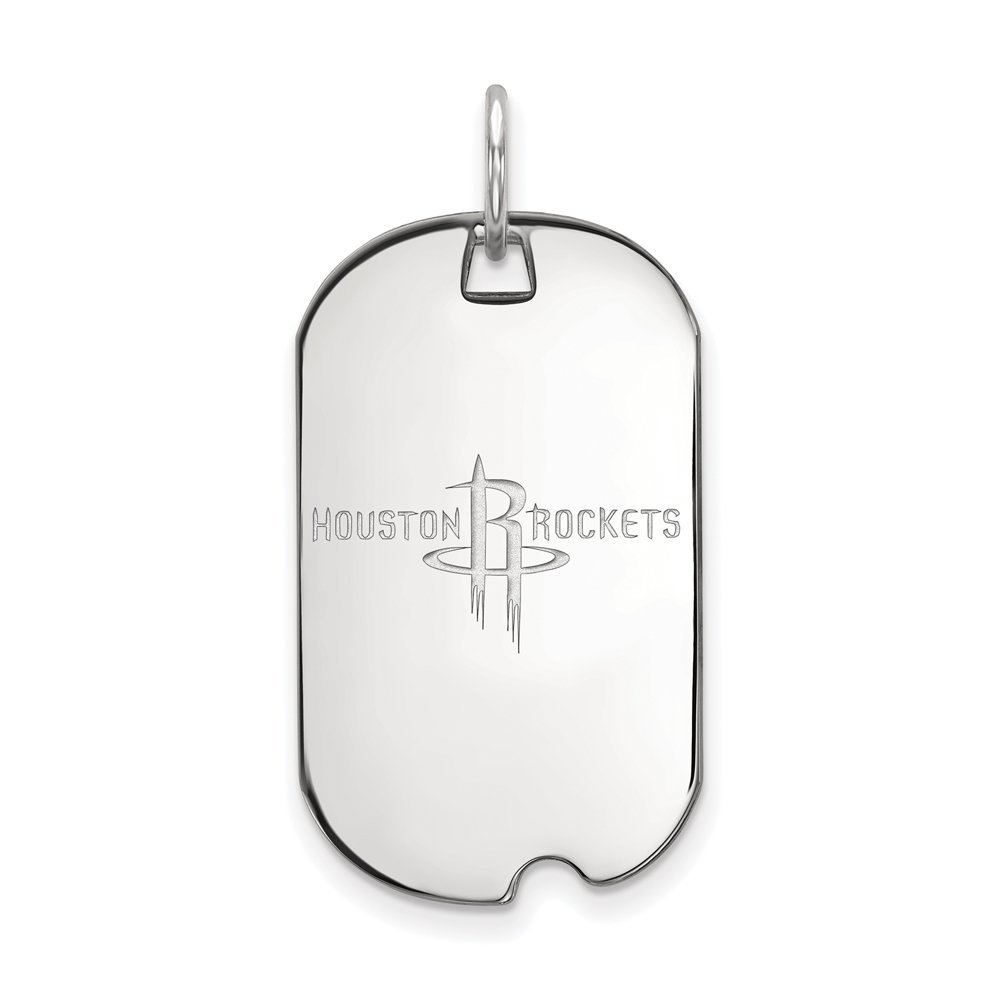 LogoArt NBA Houston Rockets Small Dog Tag Pendant in Rhodium Plated Sterling Silver