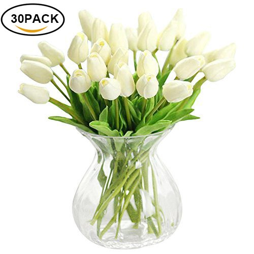 Xhsp 30 Pcs Real Touch Artificial Tulip Flowers Home Wedding Party Decor