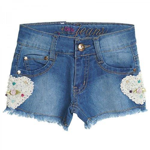 Kinder Mädchen Kurze Hose Bermuda Shorts Sommer Capri Pump Pants Jeans 20409, Farbe:Blau;Größe:152