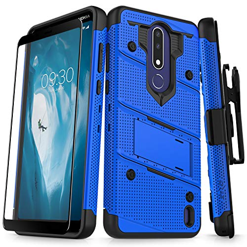 Zizo Bolt Series Compatible with Nokia 3.1 Plus Case Military Grade Drop Tested with Full Glass Screen Protector Holster and Kickstand Blue Black (Mobile Phone Cases Nokia)