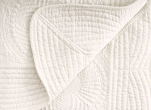 Verabella Baby Blanket Toddler Blanket Reversible Crib Quit Blanket,Cream
