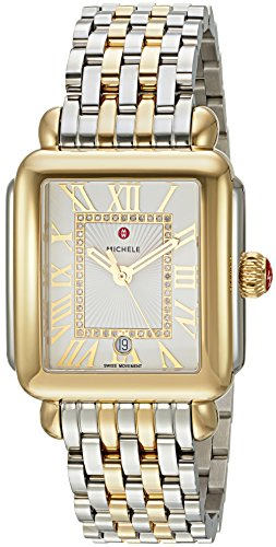 MICHELE Women's 'Deco Madison' Swiss Quartz Stainless Steel Casual Watch, Color:Two-Toned (Model: MWW06T000147)