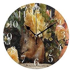 NMCEO Round Wall Clock Squirrel Flower Acrylic Original Clock for Home Decor Creative