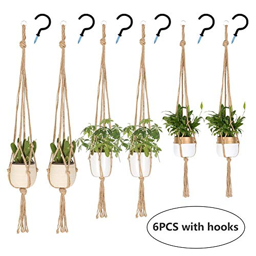 UUSHER Macrame Plant Hangers, Hanging Plant Holder Indoor Outdoor Plain Simple Jute Rope Plants Hangers Set with 6 Hooks Handcraft for Boho Home Decor & Space Saving (6 Pcs 3 Sizes)