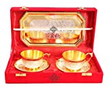 Indian Art Villa Set of 2 Silver Pleated Gold Polished Silver Plated Set of 2 Cup Sauccers with 1 Tray - Serving Tea Tableware Home Hotel Gift item Decorative