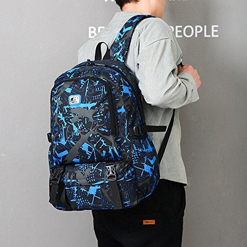 Floral Bags Print Rucksack Waterproof Fashion Capacity Laptop Blue And High Backpack Men Travel Zerototens Women Student Computer Bag School q4wSvn