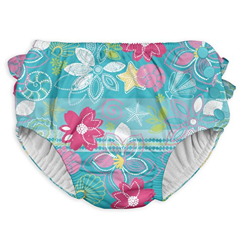 i play. Toddler Girls' Ruffle Snap Reusable Absorbent Swimsuit Diaper, Aqua Shellflowers, 3T by i play.