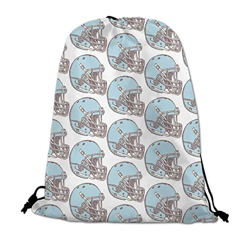 American Football Lightweight Drawstring Bag,Sketch Art Style Rugby Helmets Vintage Pattern American Athletics Decorative for Travel Shopping,One_Size