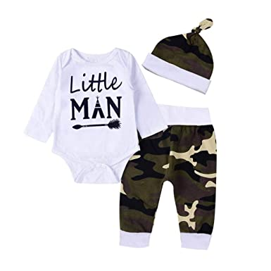 a84f2347c296 Amazon.com  Fashion 3Pcs Clothes Set Infant Baby Girls Boys Romper Letter  Print Long Sleeve Jumpsuit Camouflage Pants Hat Outfits  Clothing