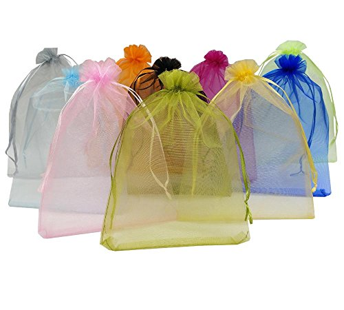 Ankirol 50pcs Large Sheer Organza Favor Bags 6.6x9'' Jewelry Candy Gift Bags Mini Bottle Wine Bags Samples Display Drawstring Pouches (Mix)
