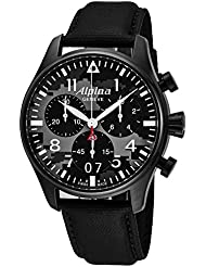 Alpina Startimer Pilot Chronograph Big Date Mens Black Stainless Steel Watch - Analog Camouflage Face with Sapphire...