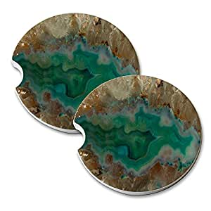 Agate Crystal Turquoise - Car Cup Holder Natural Stone Drink Coaster Set