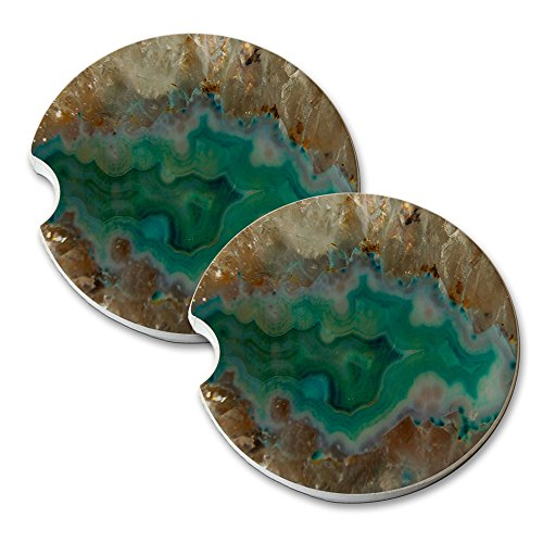 (Agate Crystal Turquoise - Car Cup Holder Natural Stone Drink Coaster Set )