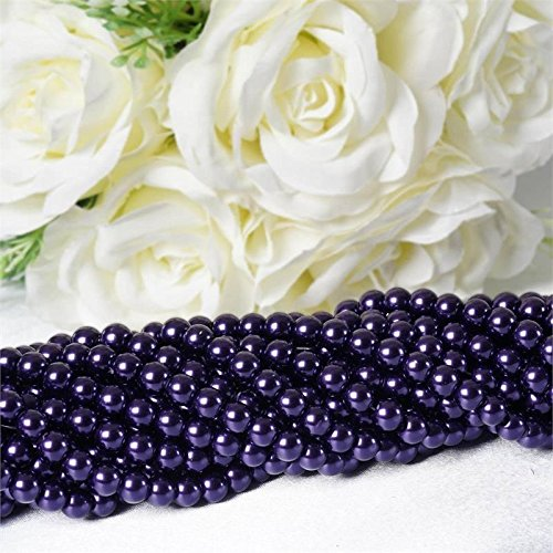 Efavormart 9 YARD 8mm Faux Pearl Bead Strands Garland Wedding Party Table Top Decoration – Purple – 10 Strands