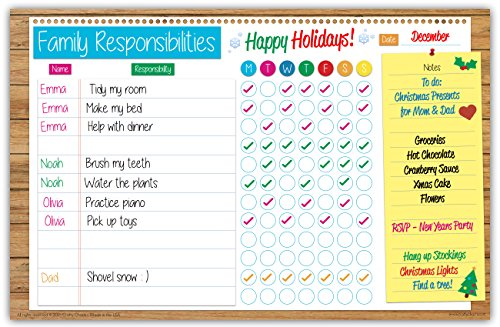 Family Planner Responsibility Chore Chart Dry Erase Poster Board | Weekly Calendar | For Wall & Refrigerator | Bright Fun Colors | FREE Marker Pen & Eraser (LARGE 17 inch x 11 inch) by Crafty Charts