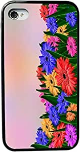 KOKOJIA Colorful Daisy Gerberas in Field Design iPhone 4 & 4s Case Cover (Black pc with bumper protection) for Apple iPhone 4 & 4s