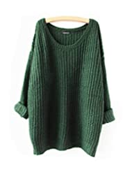 Aoibox Womens Basic Long Sleeve Oversized Knitted Crewneck Pullovers Sweaters Green