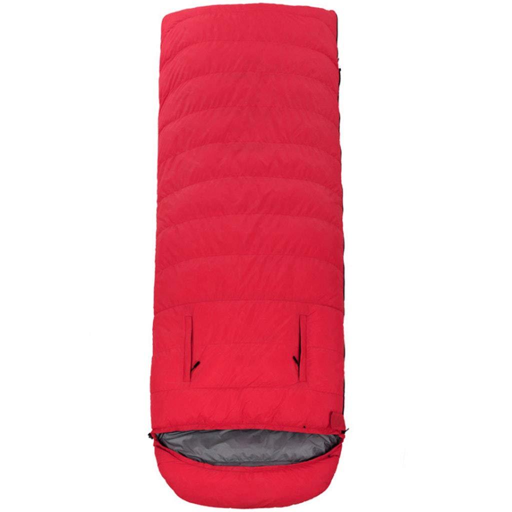 rouge 1.8kg DGB Enveloppe Sac De Couchage en Plein Air Adulte Léger en Duvet d'oie Chaud Déjeuner Intérieur Chaud Camping Atteindre Peut Être Cousu