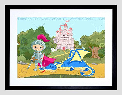 NURSERY FAIRY TALE CASTLE KNIGHT DRAGON KIDS BEDROOM FRAMED PRINT B12X13419 (Knights Tale Poster)