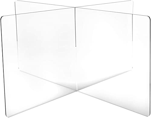 DeskDefender Plexiglass Sneeze Guard 5mm Thick Acrylic 4-Person Divider Shield for Shared Tables Simple Interlocking Assembly Perfect for Lunch Cafeteria Tables 59 wide x 24 tall
