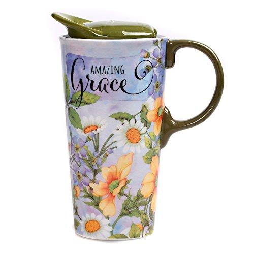 Coffee Grace (CEDAR HOME Travel Coffee Ceramic Mug Porcelain Latte Tea Cup With Lid in Gift Box 17oz. Amazing Grace)