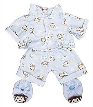 """Azul monkey pijamas & pantuflas pjs conjunto / teddy ropas para 15"""" construir un osito"""
