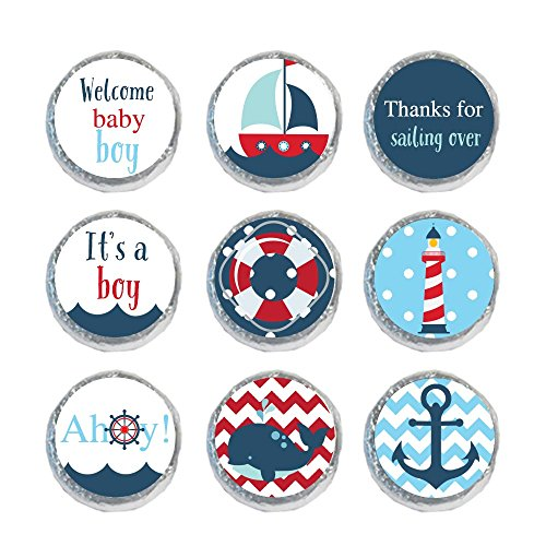 Digitaldoodlebug Mini Candy Stickers Baby Shower Favors Nautical Boy (Set of (Sailboat Baby Shower)