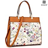 Dasein Women's Fashion Designer Satchel Handbags Purse Shoulder Bag Work Bag With Removable Shoulder Strap (F-6338 Brown Floral)