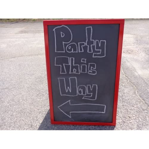 Nice Black Chalkboard Sidewalk Display Sign 36 X 24 Double Sided Red Wood Frame for cheap