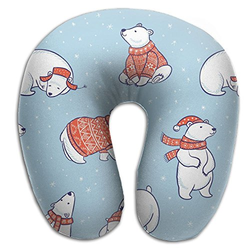 Polar Bear Sweater Holiday Snowflake December Xmas Merry Travel Pillow U Shaped Pillow Memory Foam Washable Cover For Travel,Home,Neck Pain,Airplane,Car,Bus Or Camping (Ornaments Scottish Holiday)