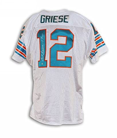 Bob Griese Miami Dolphins Autographed White Throwback Jersey Inscribed 17-0 - 100% Authentic Autograph - Genuine NFL Signature - Perfect Sports - Miami Dolphins Throwback Jersey
