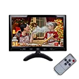 ESoku 10.1'' Inch Small CCTV Monitor - HD 1024x600 Portable Display LCD Color Monitors Screen with HDMI AV VGA Port Remote Control Built-in Speaker for DVR PC CCTV Security Camera