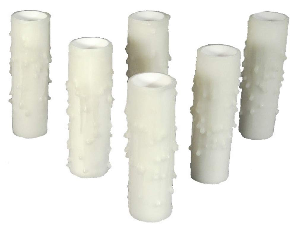 Set of 6 pc.2'' tall White Candelabra Base Thin 3/4'' Inner Diameter Beeswax Candle Covers, Socket Sleeves by Lighthouse Industries