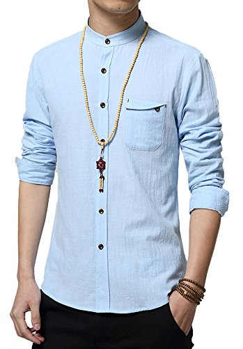 Plaid&Plain Men's Slim Fit Long Sleeve Banded Collar Solid Linen Shirts