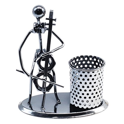 Creative Office Desktop Accessories Musical Instruments Metal Pen Pencil Holder Craft Art Model (Cello)