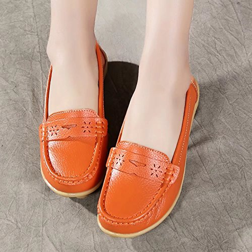 On to Penny Off Women's Slip Genuine Loafers Leather up Orange 55 Casual 8Ywn7SZq
