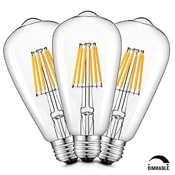 CRLight 6W Dimmable Edison Style Vintage LED Filament Light Bulb, 2300K Ultra Warm Color (Amber Glow) 600LM, E26 Medium Base Lamp, ST21(ST64) Antique Shape, 60W Equivalent, 3 Pack