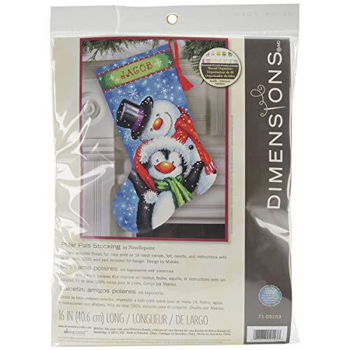 Homemade Stocking Christmas - Dimensions Needlepoint Polar Pals Personalized Christmas Stocking Kit, Printed 14 Mesh Canvas, 16''