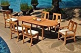 6 Seats 7 Pcs Grade-A Teak Wood Dining Set: 94″ Double Extension Oval Table And 6 Osborne Chairs (2 Arm & 4 Armless Chairs) #WHDSOS47 For Sale