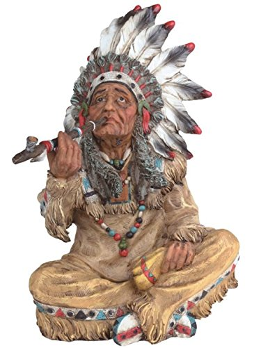 StealStreet SS-G-11672 Large Polyresin Native American Smoking Figurine Statue, 10