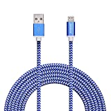 Zoresyn 3m/10ft Lightning Cable Apple MFi Certified Lightning to USB Cable Sync Cord Data line for iPhone 7/7 Plus/6s/Plus/6/5s iPad Air 2/mini 4/mini 3 iPod Nano/Touch(Blue with White)