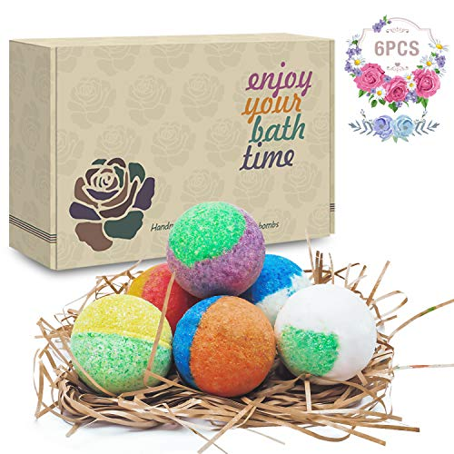 6 Organic & Natural Bath Bombs, Handmade Bubble Bath Bomb Gift Set, Rich in Essential Oil, Shea Butter, Coconut Oil, Grape Seed Oil, Fizzy Spa to Moisturize Dry Skin, Perfect Gift idea For Women. - Blue Bath Set Waters