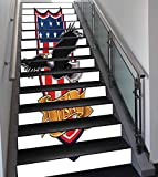 Stair Stickers Wall Stickers - 13 PCS Self-adhesive - American - Flying Eagle with USA Flag Armor Design Shape Liberty Wings in Sky Ilustration - Red Blue Black - Stair Riser Decal for Living Room - Hall - Kids R