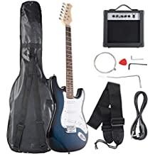 Goplus Electric Bass Guitar Full Size with Strap Guitar Bag Amp Cord and Electric Guitar Amp(Blue Guitar 6 Straps with Amp)