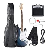 Goplus Electric Bass Guitar Full Size with Strap Guitar Bag Amp Cord and Electric Guitar Amp(Blue with Amp)