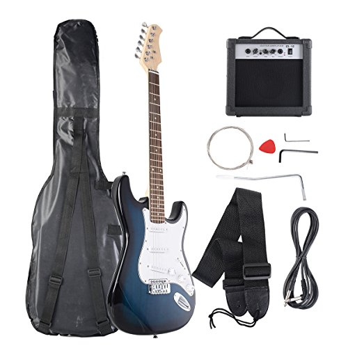 Goplus Electric Bass Guitar Full Size with Strap Guitar Bag Amp Cord and Electric Guitar Amp(Blue with Amp) by Goplus