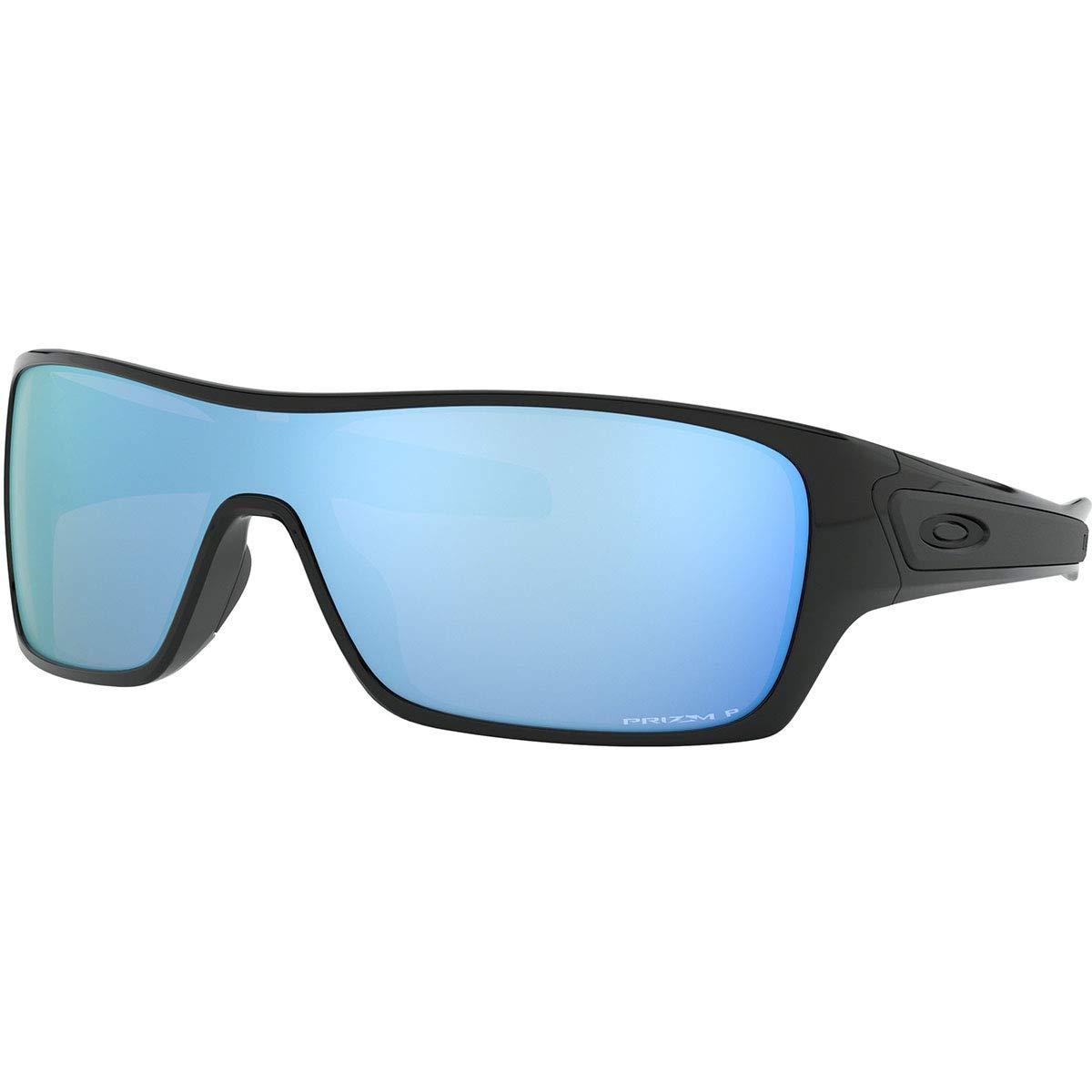 Oakley Men's OO9307 Turbine Rotor Rectangular Sunglasses, Polished Black/Prizm Deep H2O Polarized, 32 mm by Oakley