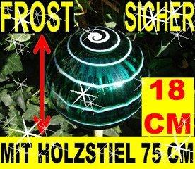 18 Cm Gartenkugeln Komplett Mit Holz Stiel Gartendeko Frostsicher