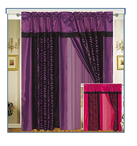 Black Flocking Printing - A Pair of Faux Silk and flocking Purple / Black Zebra Printing Window Curtains / Drapes / Panels with Sheer Lining and Valance Set.
