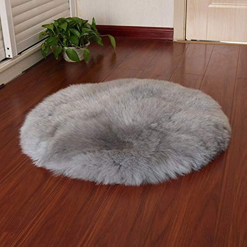 Chezaa 23.6x23.6 Inch Soft Artificial Sheepskin Rug Chair Cover Artificial Wool Warm Hairy Carpet Seat Pad (Gray)